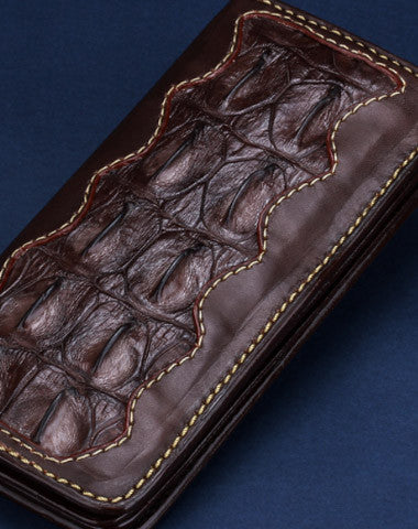Handmade leather crocodile skin wallet leather men clutch Tooled wallet