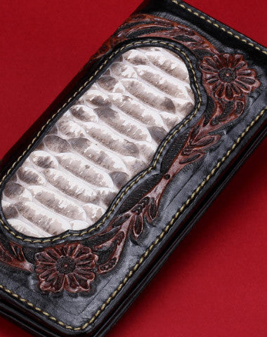 Handmade leather Long raw python skin wallet leather men clutch Tooled wallet