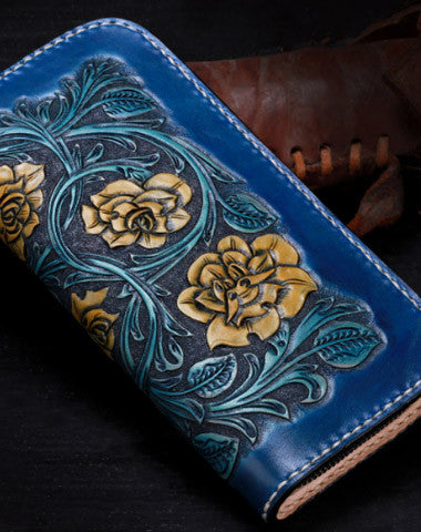 Handmade leather Blue flowers wallet leather zip women clutch Tooled wallet