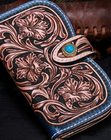 Handmade leather Blue Floral women wallet leather men  clutch Tooled wallet
