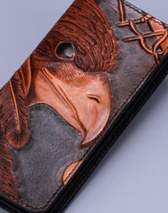 Handmade leather Indian eagle dark brown wallet leather men clutch Tooled wallet