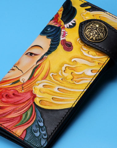 Handmade Long leather biker trucker Guanyin wallet leather chain men Black Carved Tooled wallet