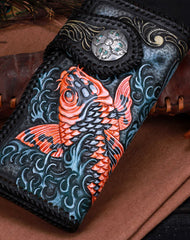 Handmade leather black carp floral biker trucker flowers wallet leather chain men Black Tooled wallet