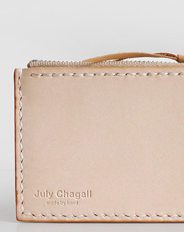 Handmade Leather card change zipper coin wallet purse cute small women wallet