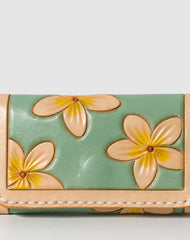 Handmade Leather floral card change coin wallet purse cute small women wallet