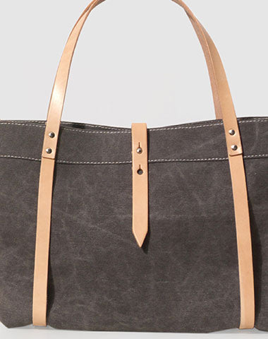 Handmade Canvas Leather purse handbag shoulder bag beige for women leather tote bag