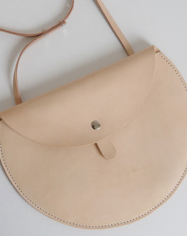 Handmade Leather crossbody purse bag beige purse for women leather bag