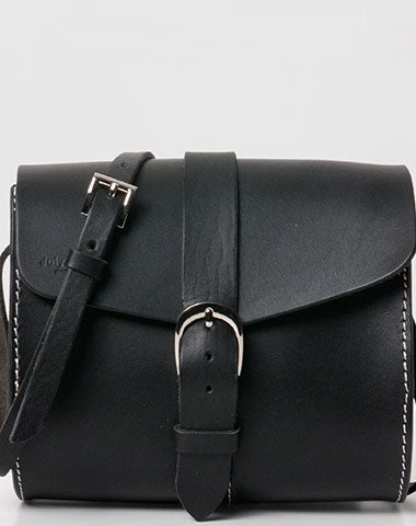 Handmade Leather purse crossbody bag black for women leather shoulder bag