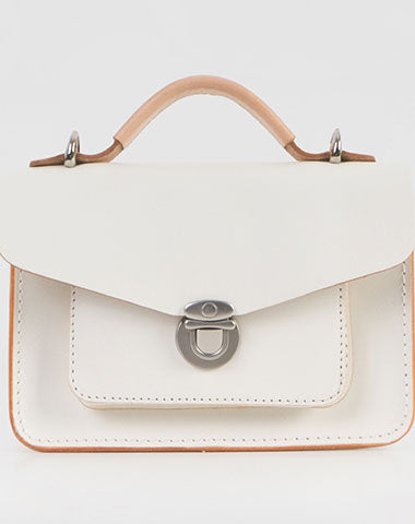 Handmade Leather Women messenger stachel bag purse shoulder bag small white phone crossbody bag