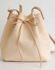 Handmade Leather shoulder bag bucket bag beige for women leather shoulder bag