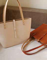 Handmade vintage womens beige leather tote bag handbags purse for women