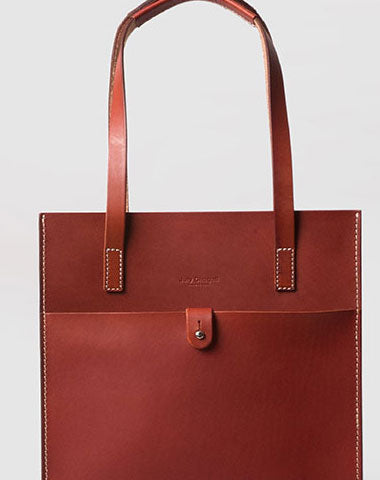 Handmade Leather handbag shoulder tote bag red for women leather shopper bag