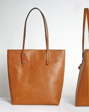 Handmade Leather Coffee Brown camel tote bag shopper bag for women leather shoulder bag