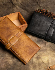 Handmade Long Leather Wallet Trifold Vintage Brown Wallet For Men Women