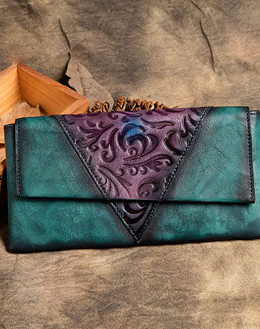 Handmade Long Leather Wallet Ethnic Vintage Wallet Zip Clucth Purse For Women