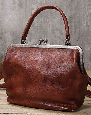 Handmade Genuine Bag Vintage Frame Leather Handbag Shoulder Bag Crossbody Bag Women Leather Purse