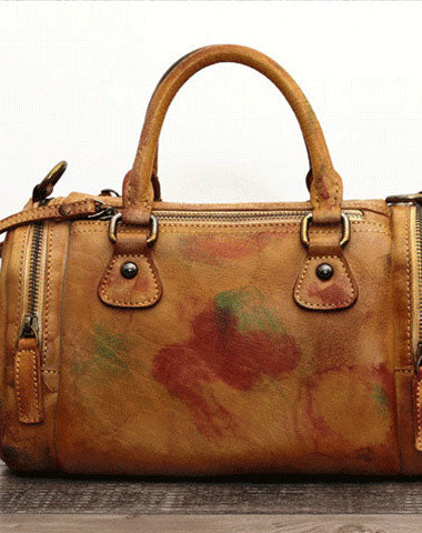 Genuine Handmade Boston Bag Vintage Leather Handbag Shoulder Bag Women Leather Purse
