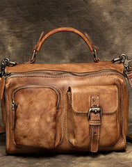 Genuine Handmade Vintage Leather Message Bag Handbag Shoulder Bag Women Leather Purse