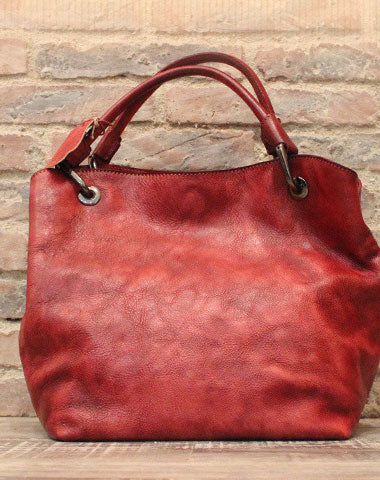 Handmade Leather Handbag Vintage Shoulder Bag Large Tote For Women Leather Shopper Bag
