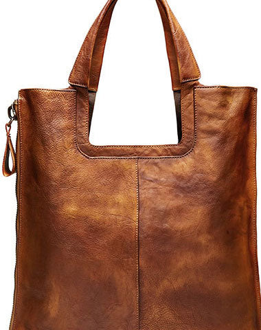 Handmade Leather Handbag Vintage Shoulder Bag Large Tote For Women Men Leather Shopper Bag