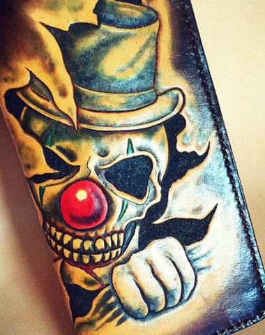 Handmade leather tooled carved wallet long wallet clown skull men biker long wallet