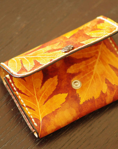 Handcraft leather yellow terracotta maple leaf coin change wallet case pouch for women
