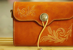 Handcraft retro crossbody leather floral hand dyed shoulder bag /handbag for women