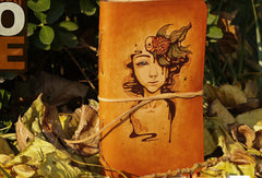 Handmade vintage leather notebook/travel book/diary/journal hand-painted