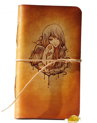 Handcraft vintage brown leather hand painted dyed notebook/travel book/diary/journal