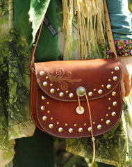 Handcraft retro crossbody leather rivet hand dyed shoulder bag /handbag for women