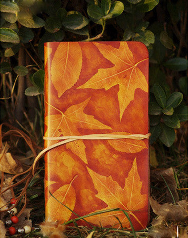 Handmade vintage leather notebook/travel book/diary/journal hand painted dyed