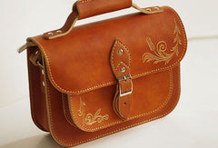 Handcraft vintage floral leather Carved Satchel shoulder bag /handbag for women girl