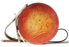 Handcraft retro crossbody leather round hand dyed shoulder bag /handbag for women