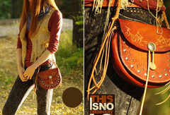 Handcraft vintage floral leather rivet Carved hip bag belt bag pocket for women girl
