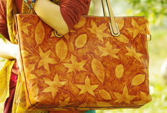 Handcraft vintage maple leaf leather hand-painted tote bag basket bag for women