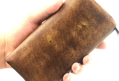 Handmade men long leather wallet men trifold vintage gray brown long wallet for him