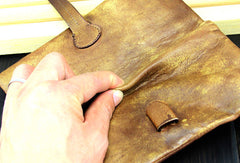 Cool mens long leather wallet vintage brown leaather long wallet for men