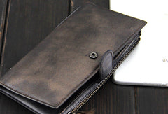 Handmade men long leather wallet men vintage gray brown long wallet for him