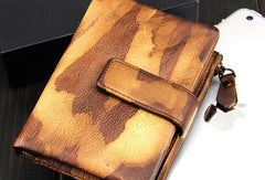 Handmade men billfold leather wallet men vintage brown blue camouflage billfold wallet for him