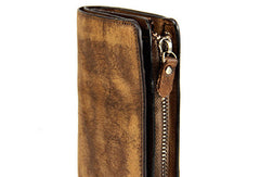 Handmade men billfold leather wallet men vintage brown gray billfold wallet for him