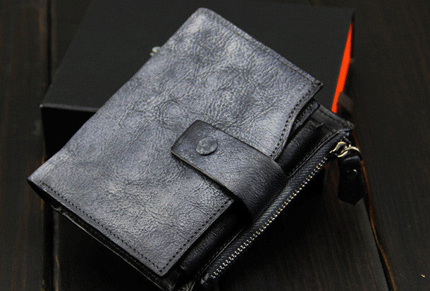 Handmade men short leather wallet men vintage gray brown short wallet for him