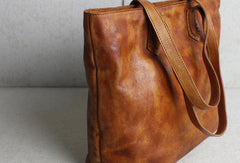 Handmade brown leather tote bag vintage shoulder bag shopper bag women