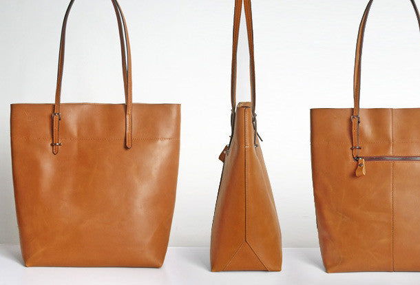 de78549679 Handmade Leather Coffee Brown camel tote bag shopper bag for women lea