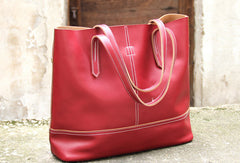 Handmade vintage black leather normal tote bag shoulder bag handbag for women