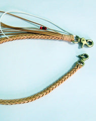 Overview---Handmade natural leather braided Chain with brass belt Clip for wallet/purse/clutch