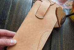 Front view--Handmade bifold  natural leather long wallet purse clutch for men/women with card icon holder
