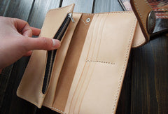 Open view--Handmade natural  leather long biker wallet for men/women with 2 full size bill slots/holder, 6 credit/ID card slots/holder, 1 zip coin slot/holder