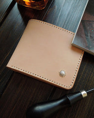 Handmade billfold leather wallet beige leather bifold biker wallet billfold wallet purse for men