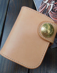 Front view--Handmade trifold  natural leather short wallet purse clutch for men/women with card icon holder