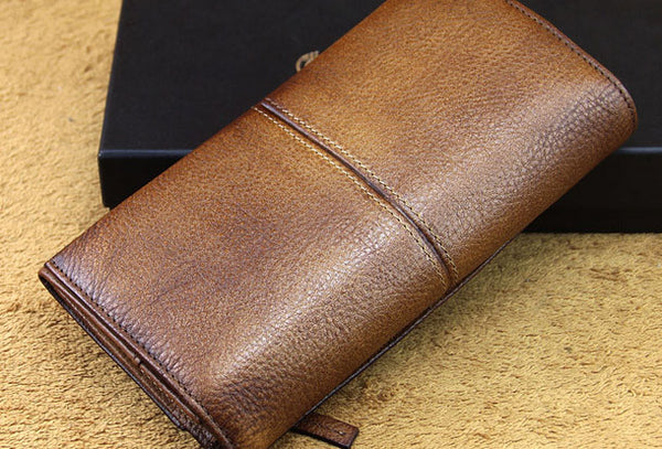 men long leather wallet men bifold vintage gray brown long wallet clutch for him